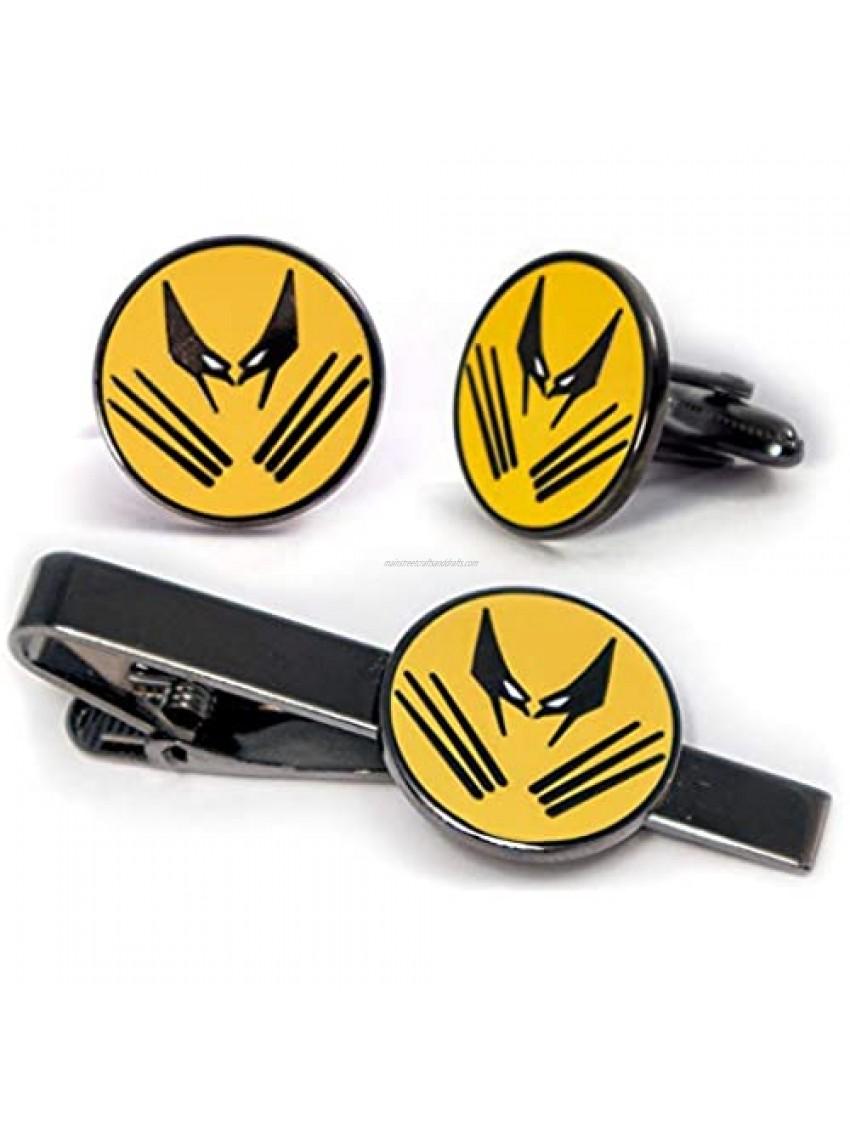 SharedImagination Wolverine Cufflinks  The X-Men Tie Clip  Marvel Minimalist Jewelry  Deadpool Tie Tack  Magneto Cuff Links Groomsmen Wedding Party Gift