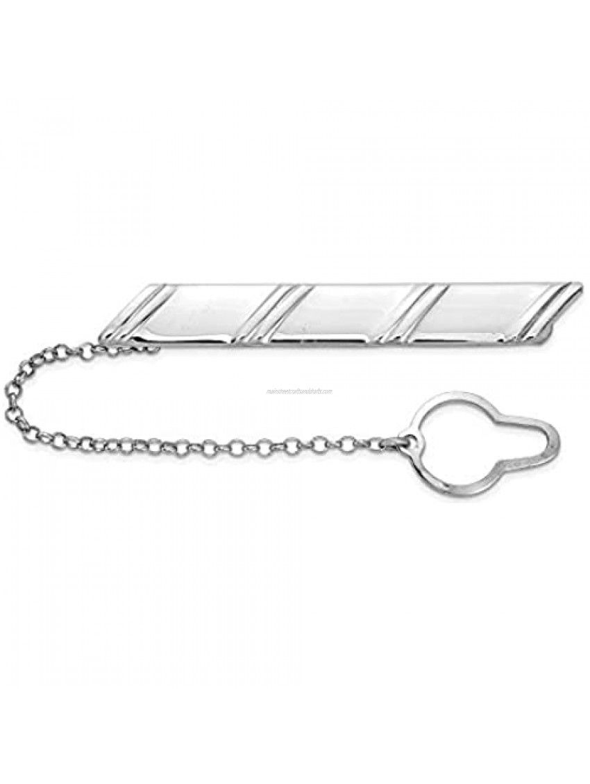 Sterling Silver Rhodium-plated Diagonal Stripes w/Button Chain Tie Bar 51.98mm 7.38mm style QQ626