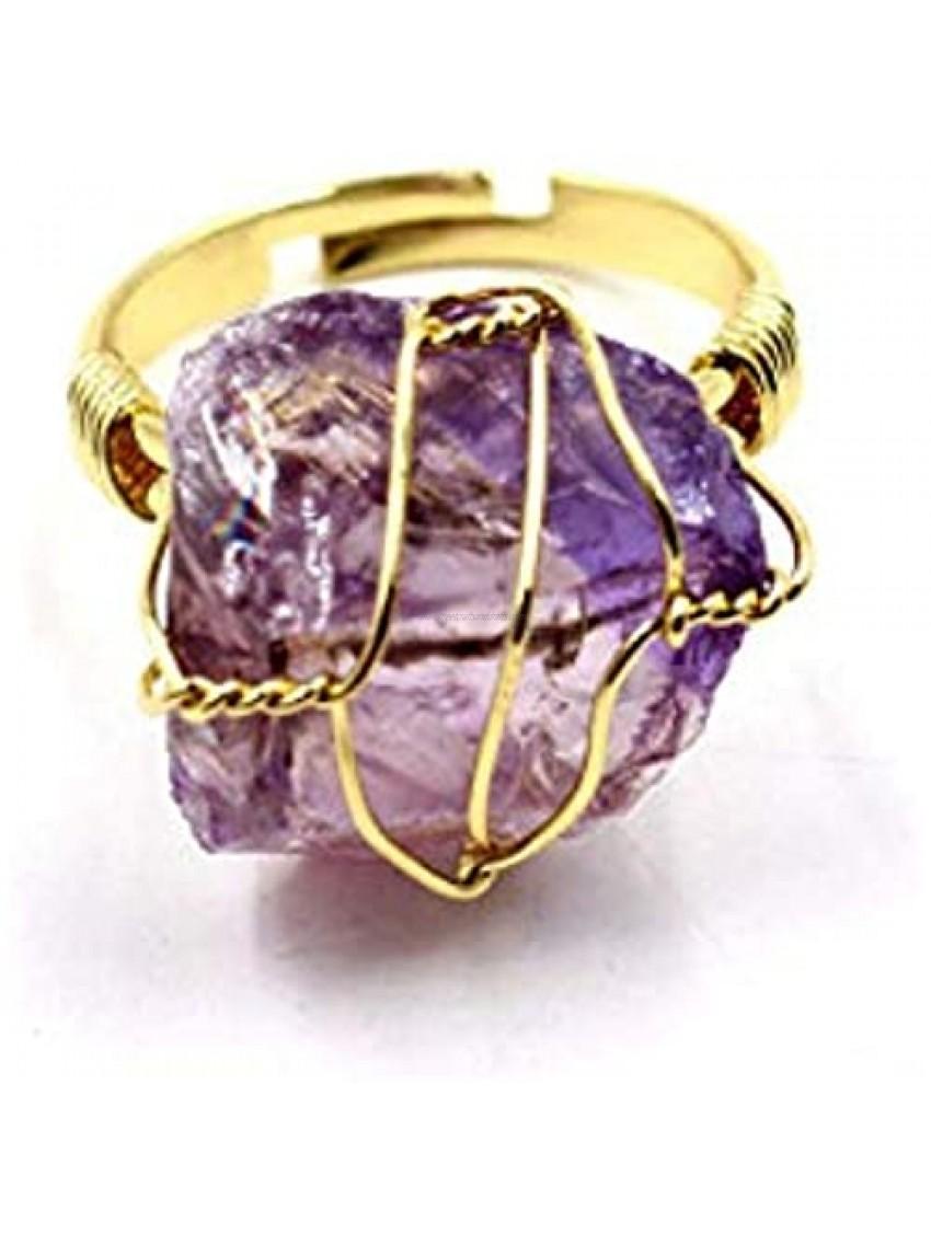 Healing Chakra Crystal Ring Natural Crystal Original Stone RingAmorphousCrystal Ring Fashion Wire Wrap Natural Rock Rings PersonalizedOpening Adjustable Ring