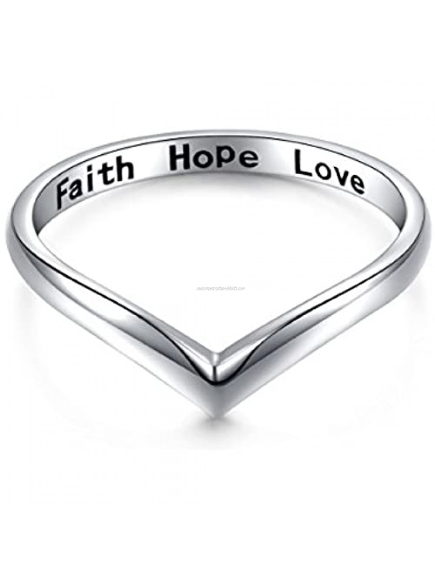 Sterling Silver Jewelry Faith Hope Love Beads Chevron Thumb Ring V Shape Ring (Size 6 7 8 9 10)