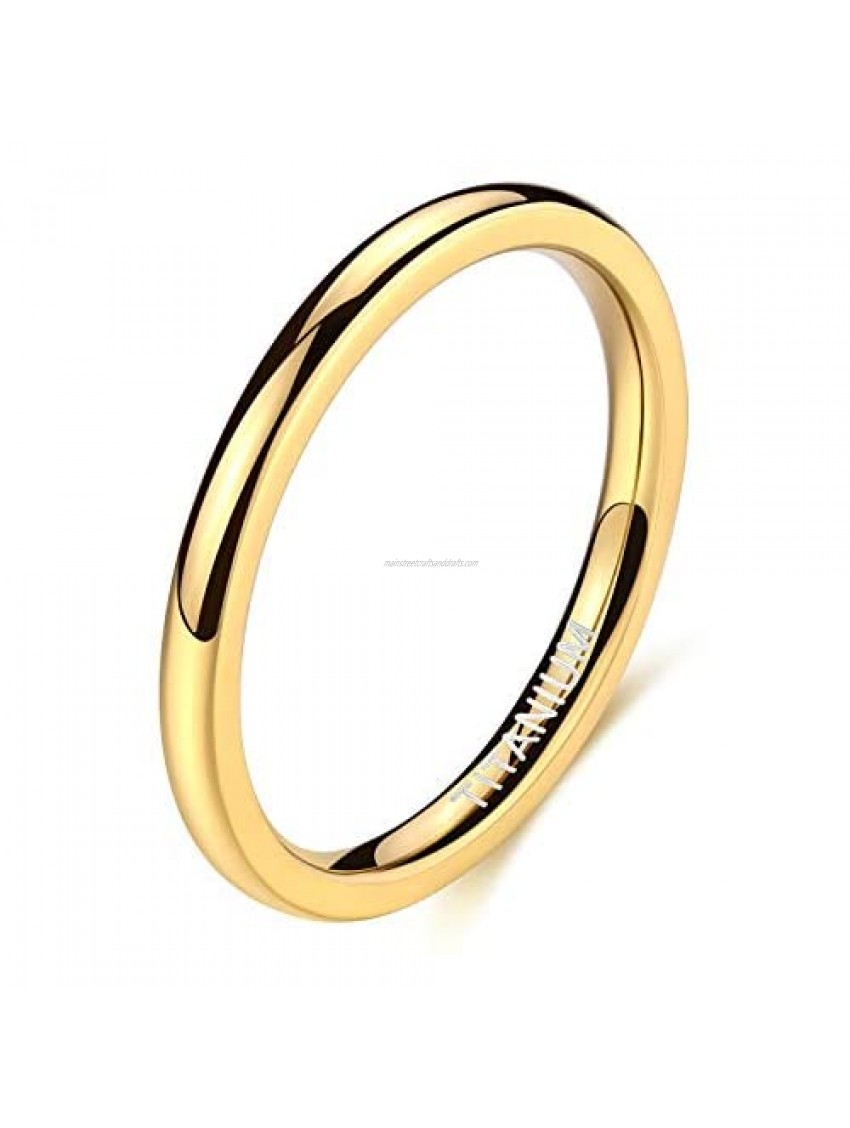 TIGRADE 2mm 4mm 6mm Titanium Ring 14K Gold Plated Dome High Polished Wedding Band Comfort Fit Size 3-13.5