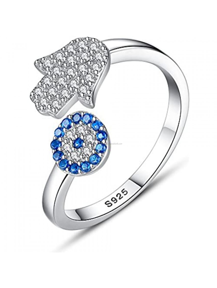 TONGZHE Blue Evil Eye Hamsa Hand Open Ring Sterling Silver 925 Cubic Zirconia CZ Band US Size 6-8