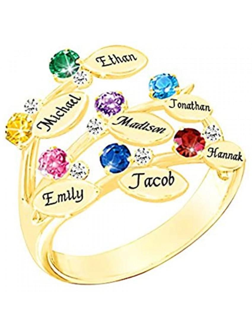 XXI0c2sd2s Family Ring Engrave Name Custom 7 Birthstone 7 Ring Sterling Silver Mom Grandma Rings Gift