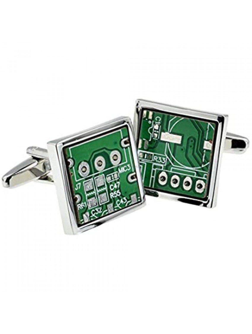 PC Motherboard Computer Chip Circuit Board Pair Cufflinks