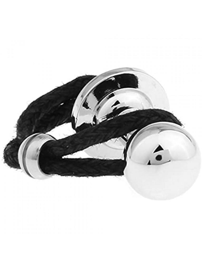 Sphere Cylinder Cuff Links Black Leather Braided Silver Cufflinks