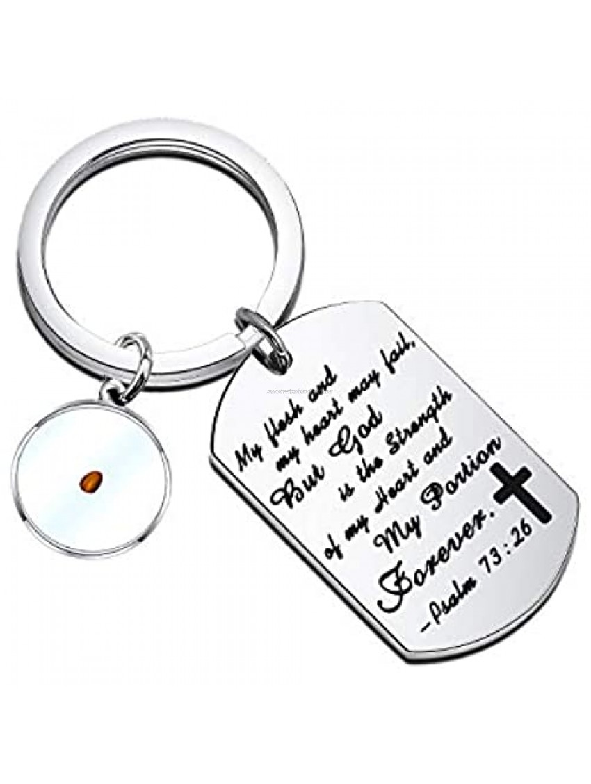 PENQI Mustard Seed Faith Keychain Bible Verse Psalm 73:26 Jewelry Christian Gift My Flesh and My Heart May Fail But My God is The Strength Religious Gift