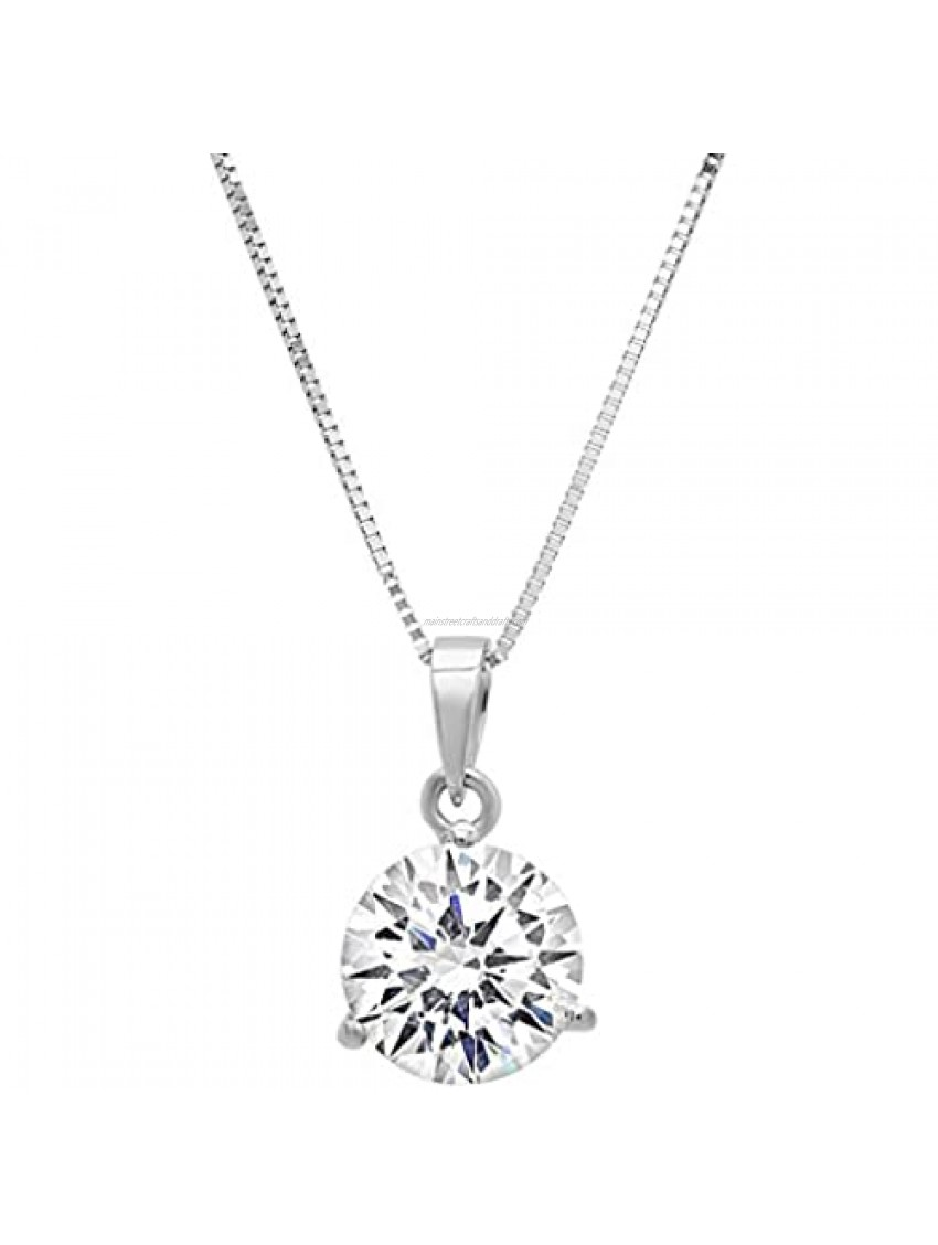 """2.0 ct Brilliant Round Cut Stunning Genuine Lab Created White Sapphire Ideal VVS1 D 3-prong Martini Style Solitaire Pendant Necklace With 18"""" Gold Chain box Solid 14k White Gold Clara Pucci"""