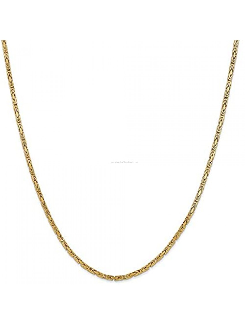 Chain Necklace 14K Yellow Gold Byzantine 30 in 2 mm 2mm