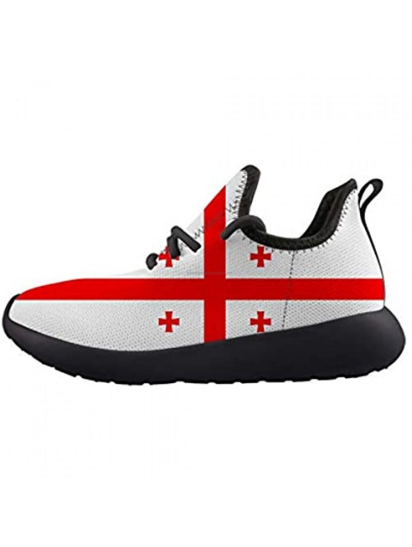 Georgia Flag Kids Sneaker Lightweight Breathable Running Tennis Boys Girls Shoes