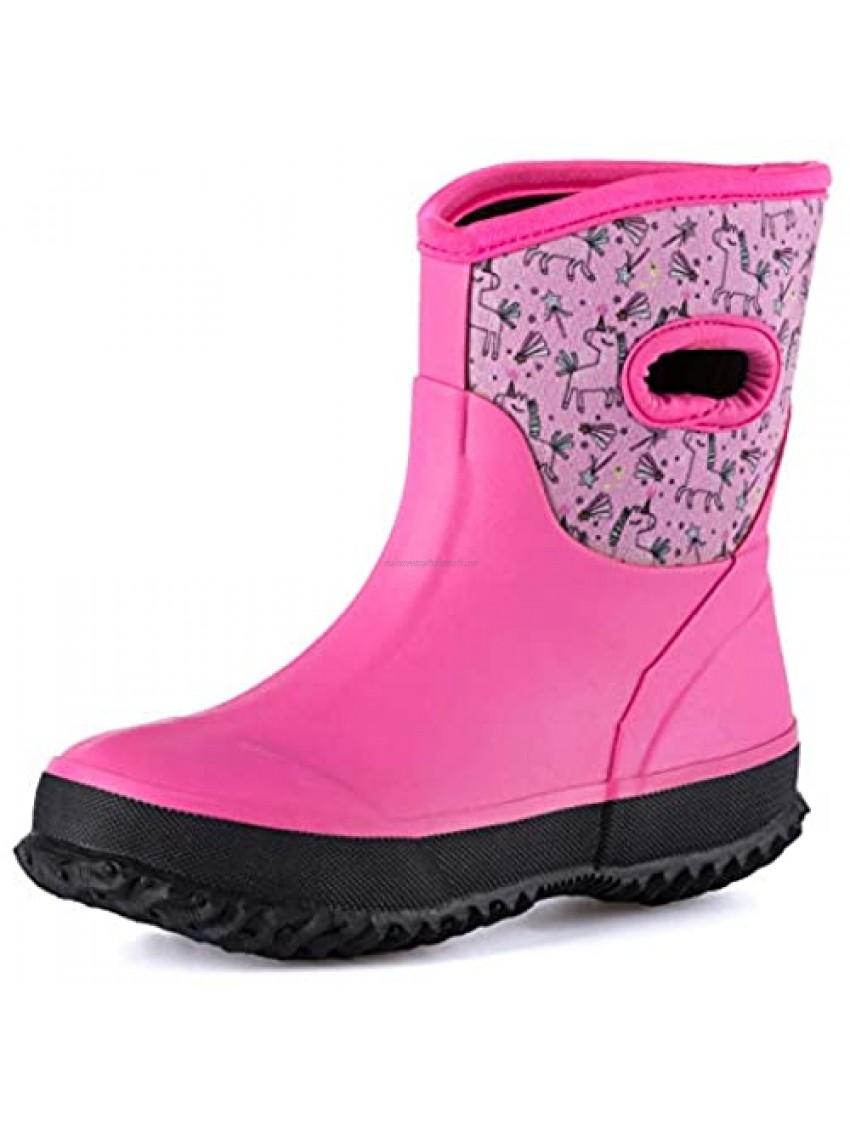 K KOMFORME Neoprene Warm Rain Boots Winter Snow Boots for Toddler and Little kids