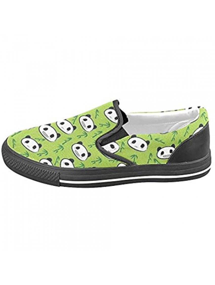 Unisex Bamboo Panda Face Slip-on Canvas Kid's Shoes (Big Kid) for Girl