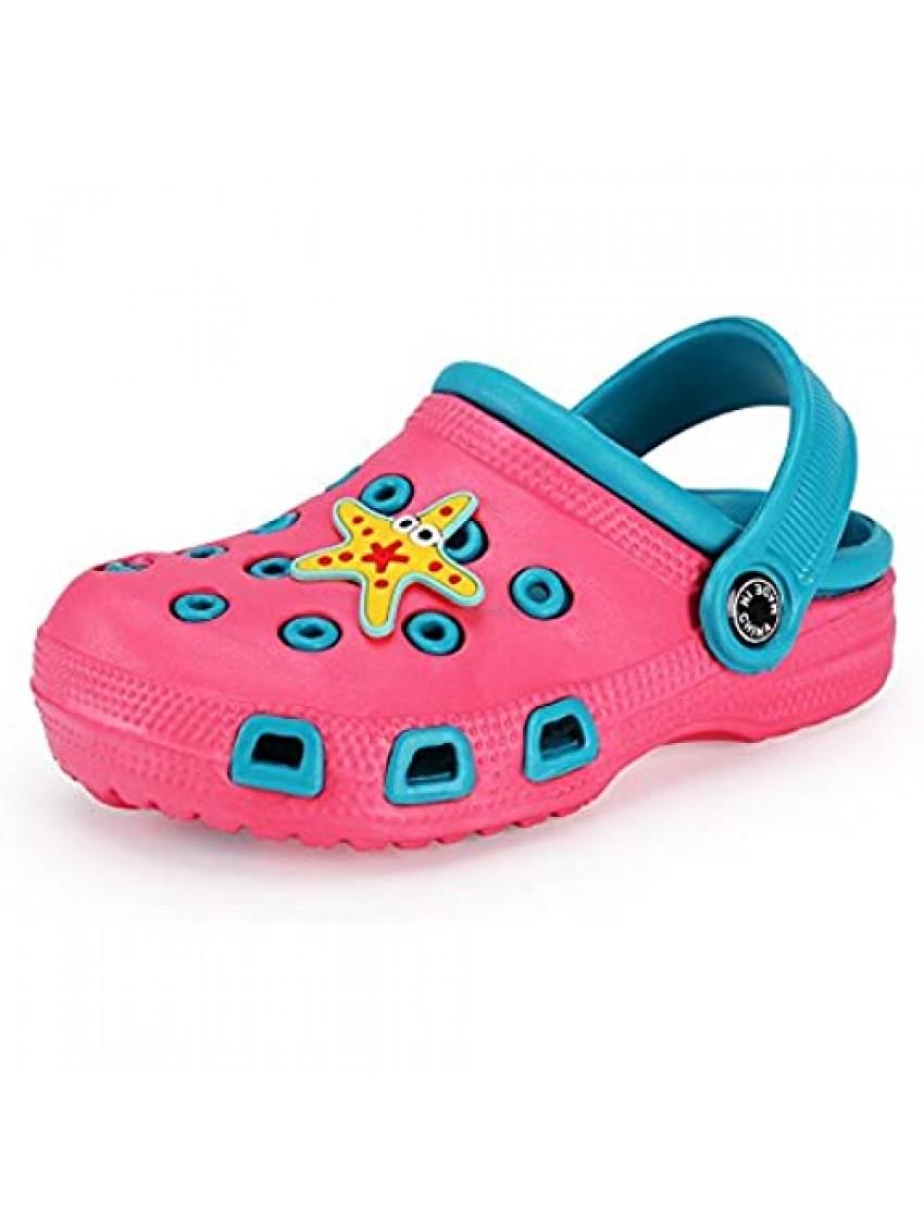 Maybolury Kid's Cute Cartoon Garden Shoes Boys Girls Slides Clogs Slippers Lightweight Summer Slip On Beach Pool Sandals