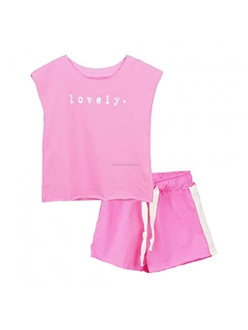 ContiKids Little Girls Shorts Clothing Set Kids Sport Summer Tracksuit Top Pants 2pcs Clothes Outfits